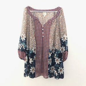 Fig and Flower 3X 3/4 Sleeve Floral Tunic Top